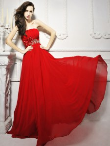Enchanting Chiffon Strapless Sleeveless Brush Train Lace Up Beading and Ruching Evening Dress in Red