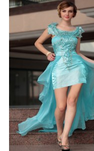 Scoop Aqua Blue Chiffon Zipper Prom Dresses Sleeveless High Low Beading and Sequins