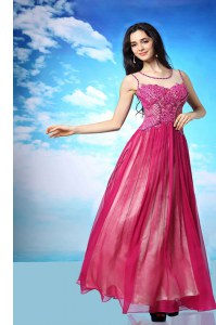 Simple Fuchsia Column/Sheath Chiffon Scoop Sleeveless Beading Floor Length Side Zipper Evening Dress