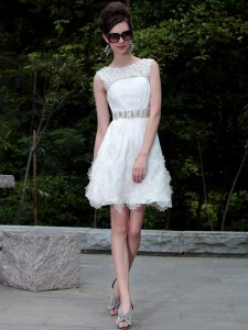 Clearance Scoop Mini Length White Organza Sleeveless Beading and Belt