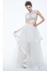 Dynamic White Chiffon Zipper Scoop Sleeveless Floor Length Prom Dresses Beading and Lace