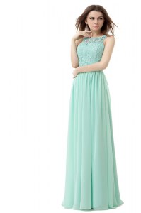 Chic Apple Green Chiffon and Tulle Zipper Scoop Sleeveless Floor Length Ruffles