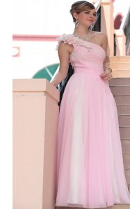 Hot Pink Chiffon Side Zipper One Shoulder Sleeveless Floor Length Prom Evening Gown Beading and Hand Made Flower