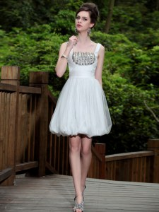 White Column/Sheath Straps Sleeveless Chiffon Knee Length Side Zipper Beading