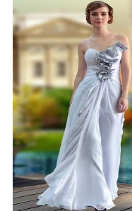 Silver Sleeveless Beading and Ruching Floor Length