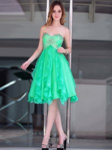 Edgy Sweetheart Sleeveless Organza Evening Dress Beading Zipper