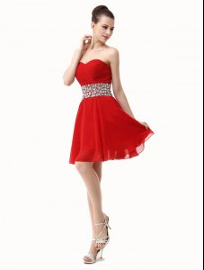 Red Lace Up Club Wear Beading and Ruffles Sleeveless Mini Length