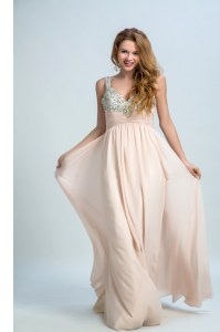 Suitable Straps Sleeveless Chiffon Prom Party Dress Beading Brush Train Zipper