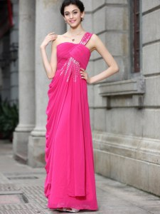 Graceful Hot Pink Sleeveless Sequins Floor Length Prom Party Dress