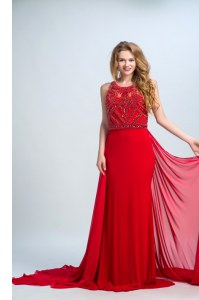 Designer Scoop Sleeveless Court Train Side Zipper Prom Gown Red Chiffon