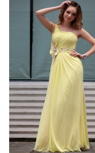 Comfortable Light Yellow One Shoulder Side Zipper Beading Prom Gown Sleeveless