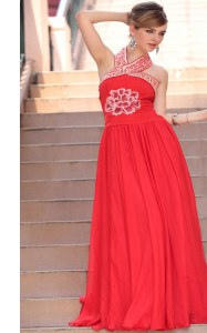 Halter Top Coral Red Sleeveless Chiffon Side Zipper Prom Gown for Prom and Party
