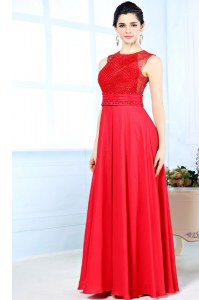Custom Fit Red Scoop Zipper Beading Evening Dress Sleeveless