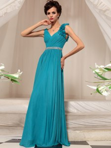 Shining Ruffles Prom Evening Gown Teal Side Zipper Sleeveless Floor Length