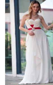 Captivating Floor Length Side Zipper Prom Gown White for Prom and Party with Belt