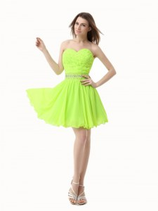Green A-line Beading Cocktail Dress Zipper Organza Sleeveless Knee Length