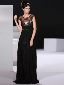 Dynamic Scoop Floor Length Black Prom Dresses Chiffon Sleeveless Appliques