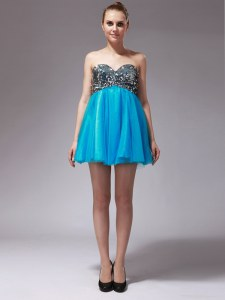 Wonderful Aqua Blue Tulle Zipper Sweetheart Sleeveless Mini Length Beading
