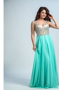 Amazing Aqua Blue Sleeveless Chiffon Zipper Prom Dress for Prom and Party