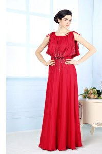 Dramatic Red Column/Sheath Scoop Sleeveless Satin Floor Length Side Zipper Beading