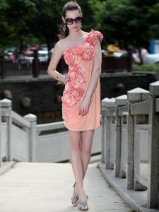 Wonderful Peach Chiffon Zipper Sweetheart Sleeveless Knee Length Cocktail Dresses Ruching and Hand Made Flower