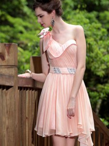 One Shoulder Sleeveless Prom Evening Gown Floor Length Beading Pink Chiffon