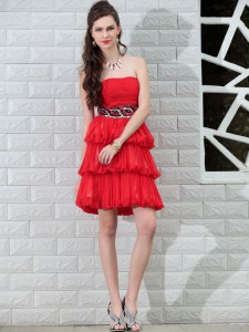 New Style Red Chiffon Side Zipper Cocktail Dresses Sleeveless Knee Length Beading