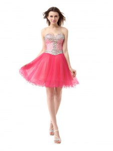 Colorful Coral Red A-line Beading Cocktail Dresses Zipper Organza Sleeveless Knee Length