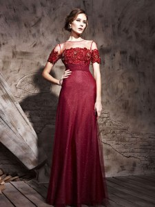 Burgundy Zipper Dress for Prom Beading Short Sleeves Floor Length