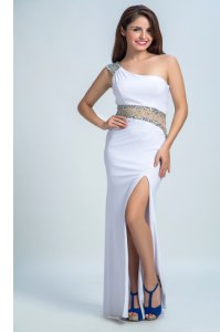 One Shoulder Sleeveless Side Zipper Evening Dresses White Elastic Woven Satin