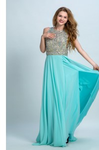 Simple Scoop Aqua Blue Sleeveless With Train Beading Backless Homecoming Party Dress