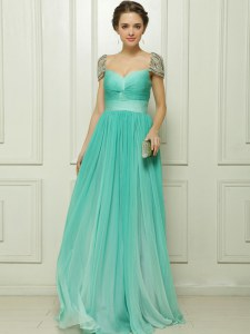 Spectacular Turquoise Cap Sleeves Beading and Ruching Prom Gown