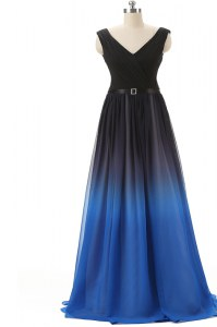 Best Selling Blue And Black Chiffon Lace Up Evening Dress Sleeveless Brush Train Beading