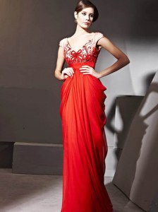 Chic Floor Length Red Pageant Dresses V-neck Cap Sleeves Zipper