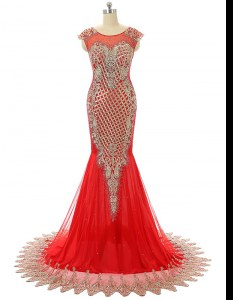 Luxurious Scoop Zipper Evening Party Dresses Red for Prom and Party with Beading and Lace Brush Train