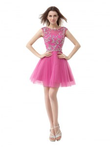 Rose Pink Column/Sheath Scoop Cap Sleeves Chiffon Mini Length Zipper Beading and Sequins and Pleated Cocktail Dress