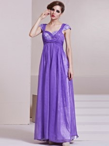 Custom Designed Sequins Column/Sheath Dress for Prom Lavender Square Chiffon Cap Sleeves Ankle Length Side Zipper