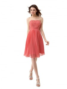 Lovely Watermelon Red Cocktail Dresses Prom and Party and For with Beading and Pleated Strapless Sleeveless Zipper