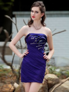 Fashionable Royal Blue Strapless Neckline Beading and Ruching Club Wear Sleeveless Backless
