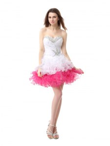 Sumptuous Pink And White Organza Lace Up Sweetheart Sleeveless Knee Length Cocktail Dresses Beading and Ruffles