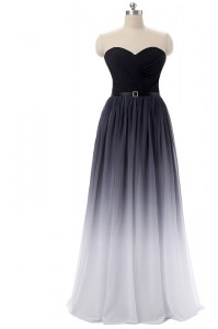 Artistic Black Lace Up Sweetheart Belt Evening Dress Chiffon Sleeveless