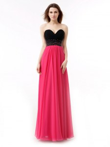 High Class Sleeveless Lace Up Floor Length Beading and Ruffles Prom Dress