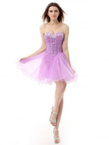 Wonderful Lilac Sleeveless Knee Length Beading Lace Up Cocktail Dresses