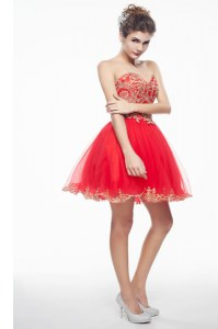 Coral Red Organza Side Zipper Sweetheart Sleeveless Mini Length Cocktail Dresses Appliques and Ruffles