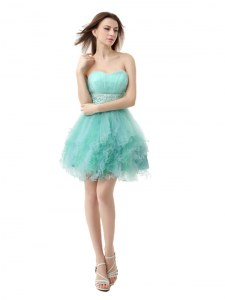 Turquoise Cocktail Dresses Prom and Party and For with Beading and Ruffled Layers Sweetheart Sleeveless Zipper