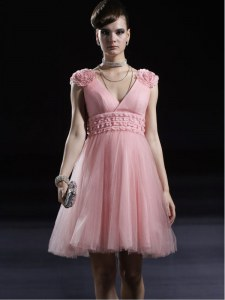 Baby Pink Sleeveless Tulle Zipper Club Wear for Prom and Party