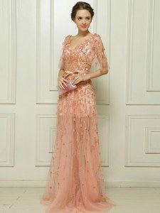 Peach Cap Sleeves With Train Beading and Appliques Zipper Evening Dress