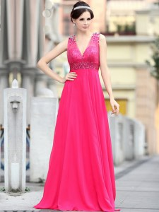 Sequins V-neck Sleeveless Brush Train Zipper Pageant Dress Hot Pink Chiffon