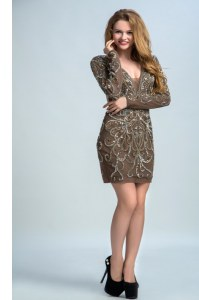 Elegant Sequins Cocktail Dress Brown Backless Long Sleeves Mini Length