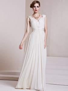 Dramatic White Column/Sheath Beading and Ruching Prom Gown Backless Chiffon Cap Sleeves Floor Length